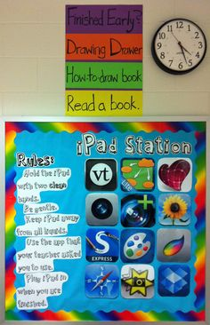 finished early and ipad station bulletin board display