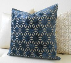 Navy and gold geometric cut velvet decorative pillow cover by pillowflightpdx on Etsy https://www.etsy.com/listing/294117009/navy-and-gold-geometric-cut-velvet