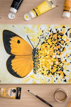 70 Easy Canvas Painting Ideas For Beginners - Fashion Hombre Small Canvas Art, Mini Canvas Art, Pencil Art Drawings, Art Drawings Sketches, Marker Drawings, Sketch Markers, Arte Sketchbook, Butterfly Painting, Acrylic Art