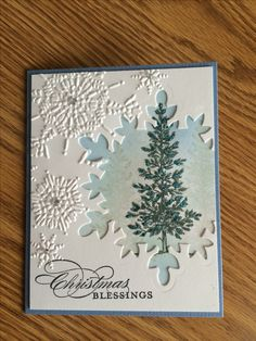 Stampin' Up Lovely as a Tree, Northern Flurry, & Festive Flurry-2015 Christmas creation