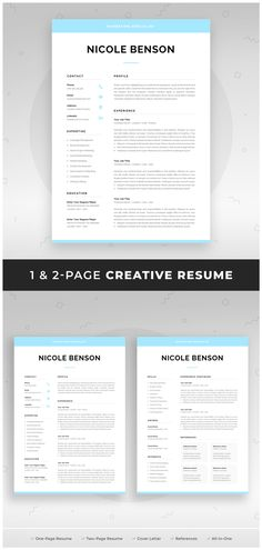 1 Page Resume Captivating Resume Template  1 Page Resume  2 Page Resume  Professional Cv .