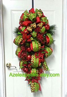 Christmas Door Swag Christmas Wreath Christmas by Azeleapetals.Perfect for the front doors! Decoration Christmas, Christmas Swags, Christmas Ribbon, Christmas Door, Holiday Wreaths, All Things Christmas, Christmas Holidays, Christmas Ornaments, Merry Christmas