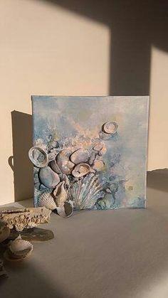 Contemporary art, Sea story (8x8), Home decor, Canvas art, Original beach wall art, Mixed media art, Seashell decor, Beach, Stone, Love...