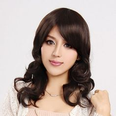 Capless Long Curly Brown High Quality Synthetic Wig Side Bang
