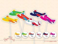 Printable Airplane Birthday Party Jet Cupcake Toppers from the Jet on Over Party Collection by Paper Built