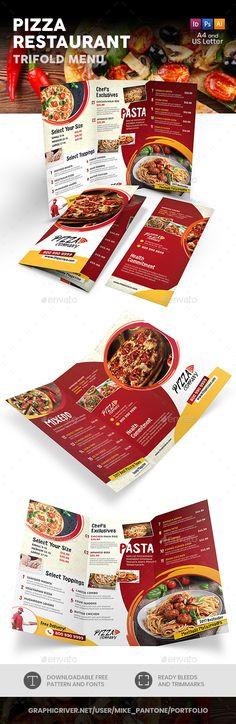 Pizza Restaurant Trifold Menu 2 - Food Menus Print Templates