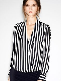 nice Deep V Collar Long Sleeve Black White Stripe Chiffon Women Shirt