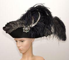 Gothic Dreispitz / / Baroque Hat / / tricorn hat by Maskenzauber Steampunk Hat, Steampunk Clothing, Steampunk Fashion, Fascinator Headband, Headpiece, Pirate Woman, Lady Pirate, Costume Hats, Pirate Costumes