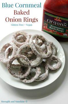 Blue Cornmeal Baked Onion Rings