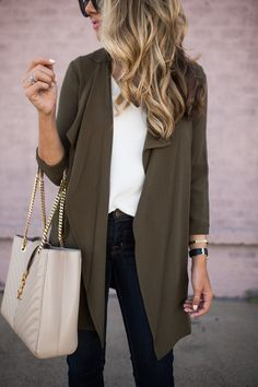 Olive Drape Front Jacket | The Teacher Diva: a Dallas Fashion Blog featuring Beauty & Lifestyle