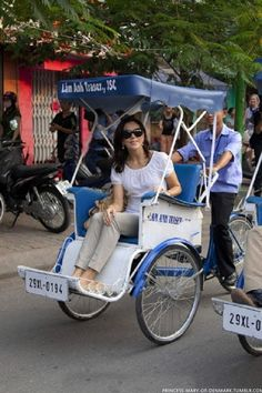 Princess Mary of Denmark begins a State Visit to Vietnam tomorrow, arriving today they visited Prince Henriks childhood home, and took a Cyclo tour of part of Hanoi.