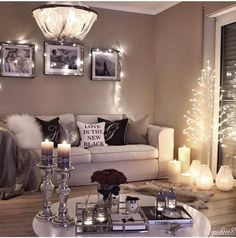 Cosy Living Room Lighting Ideas Beautiful This Christmas Season Get Decorative Wall Lights for Your Living living room ideas At Home Stuff Glam Living Room, Cozy Living Rooms, Living Room Lighting, Apartment Living, Living Room Decor, Cozy Apartment Decor, Romantic Living Room, Apartment Goals, Decor Room