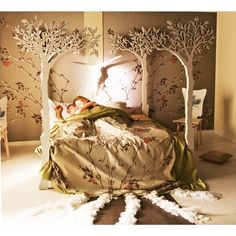 "Same ""LummeDesigns"" store on Etsy; How gorgeous is this? Under the apple tree canopy bed - Modern romantic Scandinavian design Sleep Therapy woodland fairy tale. via Etsy. Interior Exterior, Interior Design, Ideas Dormitorios, Bed With Posts, Tree Canopy, Canopy Beds, Canopies, Apple Tree, Ideas"