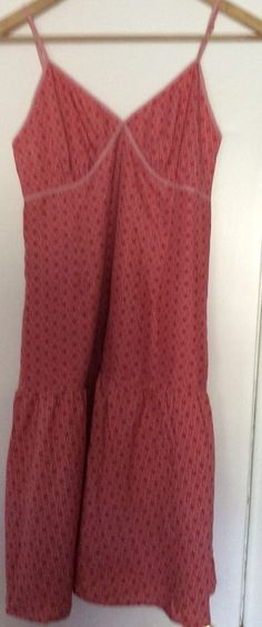 GAP 100% Silk Women Sz 4 Spaghetti Strap Flirty Summer Dress Salmon/Pink #GAP #Sundress #Casual