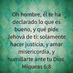 Oh hombre, él te ha declarado lo que es bueno, y qué pide Jehová de ti: solamente hacer justicia, y amar misericordia, y humillarte ante tu Dios. (Miqueas 6:8 RVR1960)