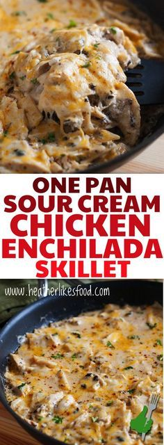 This One Pan Sour Cream Chicken Enchilada Skillet is cheesy. This One Pan Sour Cream Chicken Enchilada Skillet is cheesy creamy zesty and so much easier than spending your day rolling up enchiladas! Low Carb Recipes, Diet Recipes, Cooking Recipes, Healthy Recipes, Recipies, Cooking Tips, Ketogenic Recipes, Ketogenic Diet, Pescatarian Recipes