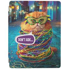 Avanti Press - Funny Cat with Colorful Beads at Mardi Gras. Regalos, Gifts. #carcasas #cases