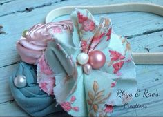 Dusty Rose Pink & Mint Fabric Flower Headband with Pearls, Mint Headband, Flower Hair Clip, Girls Headband, Newborn Baby Girl Headband on Etsy, $16.75