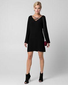 fd4bda1e940 Tricoteen V-Neck Tunic Dress - A lace-up neckline adds a touch of