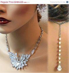 Peacock Motif Wedding Necklace set cz crystal by GlamDuchess