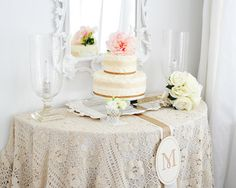 vintage lace wedding decorations | Lace- and ribbon-wrapped mini votives are used as individual flower ...