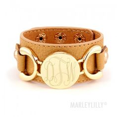 Monogram Bracelet | Personalized Leather Cuff | Marleylilly