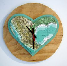 One Sunday Morning – 'Mexiheart' clock. Hand crafted in our home studio on the Mornington Peninsula from reclaimed plywood and original vintage publications. • See more at The Big Design Market on 6/7/8 December 2013 – Royal Exhibition Building, Melbourne. www.thebigdesignmarket.com