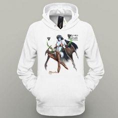 Mens branco DOTA 2 hoodie do herói Rainha da Dor impresso