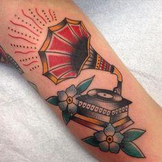 Tradition tattoo of a vintage gramophone by Jessamyn Felker, Art With Heart, Aurora, Co