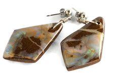Solid Boulder Opal Sterling Silver Earring Pair - Opal Art Global Solid Boulder Opal S Boho Jewelry, Gemstone Jewelry, Vintage Jewelry, Jewelry Design, Opal Earrings, Sterling Silver Earrings, Drop Earrings, Cuff Bracelets, Gypsy