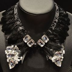 Outono inverno mulheres de pena colar de strass destacável falso falso colares colar decorativo