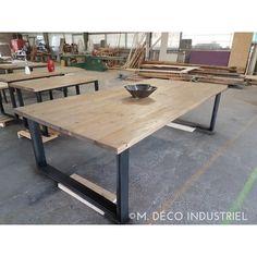 Table de salle à manger style industriel bois et acier - M. Déco Industriel