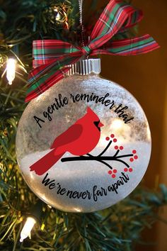 Christmas Cardinal Ornament – Remembrance Christmas Gift – Personalized Memorial for Loved One – In – etsy Cardinal Ornaments, Diy Christmas Ornaments, Christmas Balls, Homemade Christmas, Diy Christmas Gifts, Christmas Projects, Holiday Crafts, Christmas Decorations, Glitter Ornaments