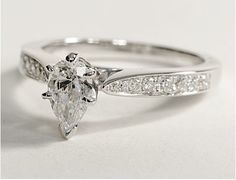18k white gold/platinum .75 ct. t.w. pear shaped diamond engagement ring