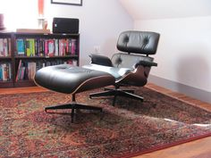 #eames #eameschair Black leather with cherry.