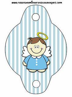 Batizado Menino Anjinho Moreno - Kit Completo com molduras para convites, rótulos para guloseimas, lembrancinhas e imagens!