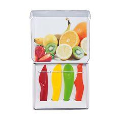 4 cuchillos, para naranjas en color naranja, banana en amarillo, kiwi en verde y fresa en rojo.  www.tusregalosdeempresa.com