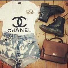 Stylish love the combat boots with the jean shorts
