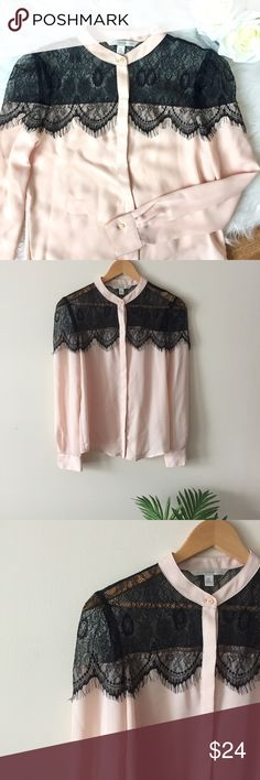 Elegant Lace Blouse A gorgeous light semi-sheer pink blouse with a soft black lace overlay. The lace is in perfect condition with no tears. An excellent top to wear for a festive event!   Size XS. Length: 25 inches Bust: 16 inches LC Lauren Conrad Tops Blouses