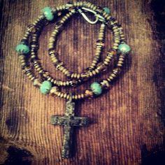 Antique Byzantine cross from Kiev. Antique Czech fire polished Glass. Amber crystal. African metal. #stephanieleighjewelry #bracelet #necklace #jewelry #handmade #atlanta #create #OOAK