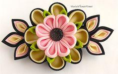 Handmade Kanzashi fabric flower grosgrain от MARIASFLOWERPOWER