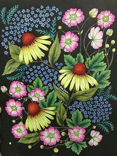 From Twilight Garden by Maria Trolle also known as Blomster Mandala Coloring Book Colorful Garden, Colorful Flowers, Spring Flowers, Colouring Techniques, Polychromos, Coloured Pencils, Mandala Coloring, Coloring Book Pages, Prismacolor