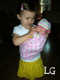 The Little Giggler: Baby Doll Sling diy tutorial and FREE pattern. For playing house of practicing for new sibling on the way