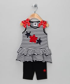 Navy & White Star Tunic & Leggings - Infant, Toddler & Girls; Cute 4th of July outfit