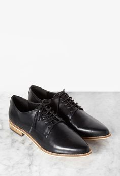 MENSWEAR Forever21 Leather Pointed-Toe Oxfords, $29.90
