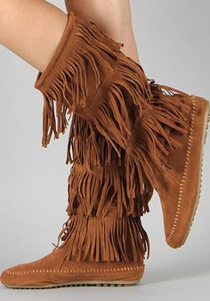 Fringe Boots Indian Moccasin Vegan Suede