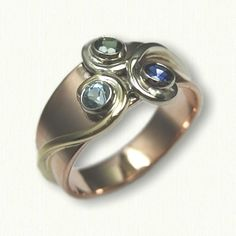 14kt Rose Gold Swirl Designed Mother's Ring - set with a sapphire, tourmaline and blue zircon - swirls in different colors of gold