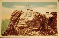 A vintage postcard from the late showing Mount Rushmore, then under construction. The monument to America's President's would not be completed until Monte Rushmore, Snoqualmie Falls, Alternate History, Memorial Park, Commercial Art, Heaven On Earth, South Dakota, Wild West, Vintage Postcards