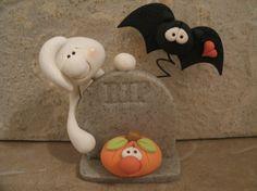 RIP Halloween Scene  porcelana fria pasta francesa masa flexible fimo fondant figurine modelado topper polymer clay