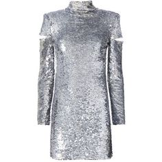 Helmut Lang Cold Shoulder Disco Sequin Dress (€1.270) ❤ liked on Polyvore featuring dresses, short dresses, metallic, open shoulder dress, cold shoulder cocktail dress, metallic dress, metallic cocktail dress and sequin mini dress